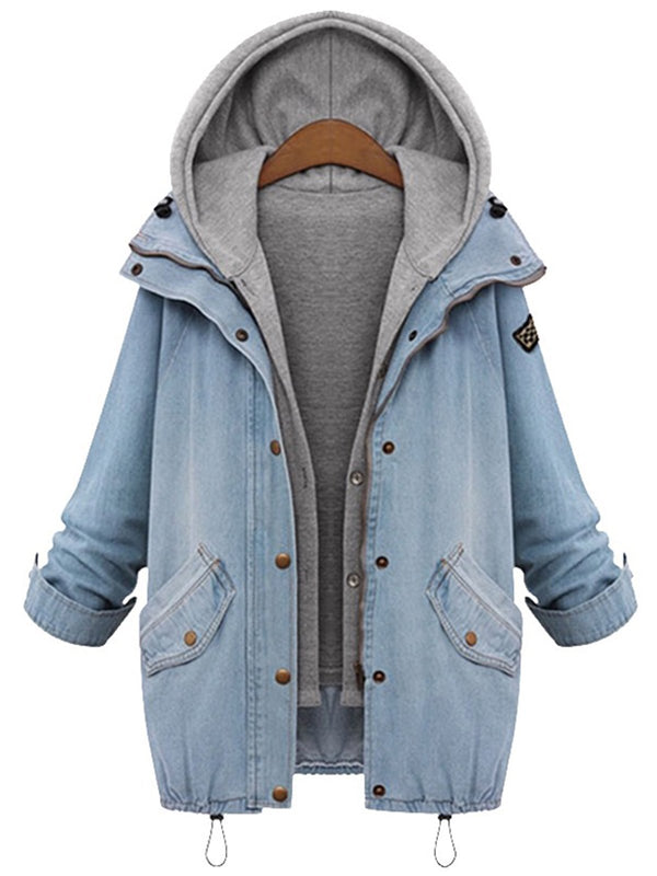 Two Pieces Denim Coats with Hoodie Vest - fashionnana