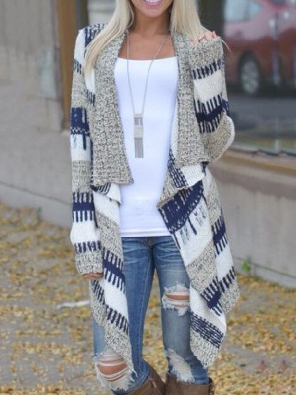 Blue Long Sleeve Cotton-blend Cardigan