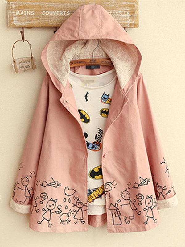 Cartoon Print Embroidery Patchwork Hooded Vintage Coats
