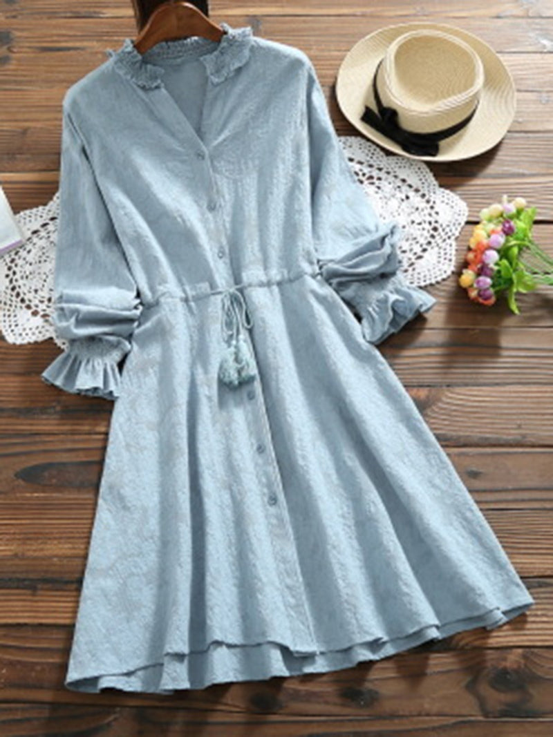 Long Sleeve Solid Casual Daytime A-line Gathered Dress