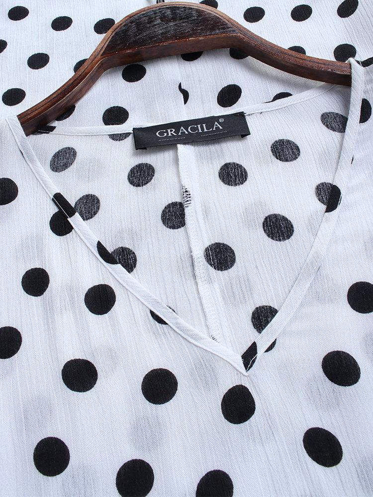 Polka Dot Print Patchwork Short Sleeve Vintage Dress