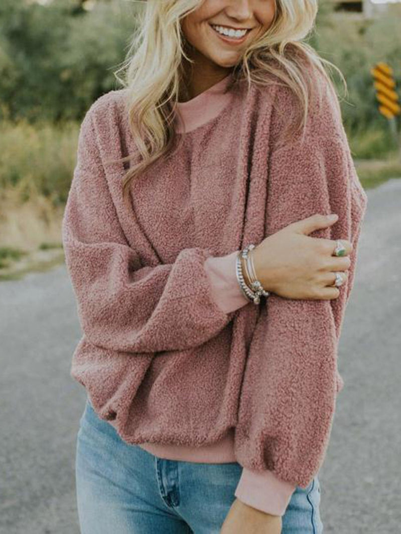 Solid Sweet Plain Round Neck Hoodies