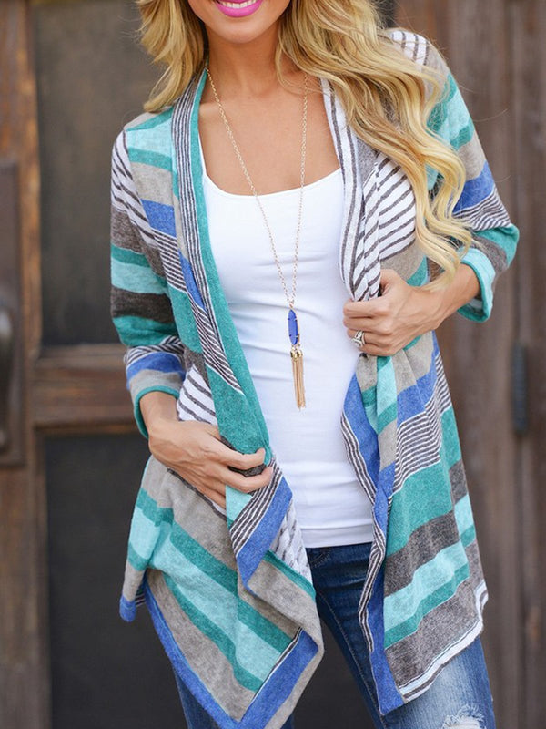 Casual Long Sleeve Striped Shawl Collar Cardigan