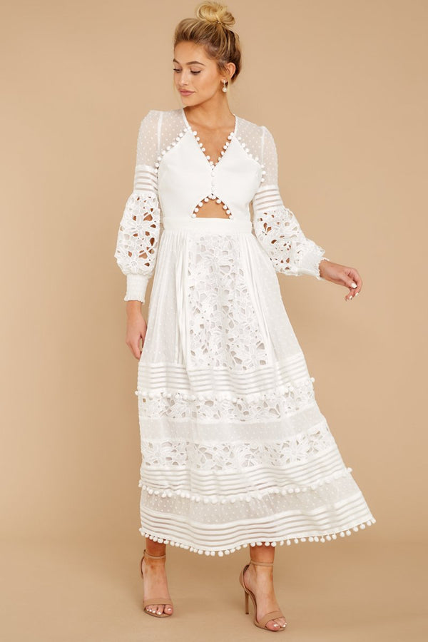 2 All For Hope White Lace Maxi Dress at reddressboutique.com