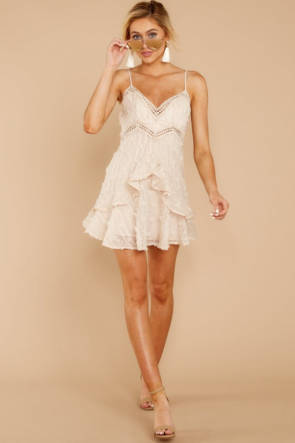 2 Radius Of Radiance Beige Dress at reddressboutique.com
