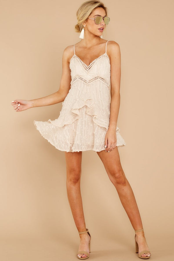 1 Radius Of Radiance Beige Dress at reddressboutique.com