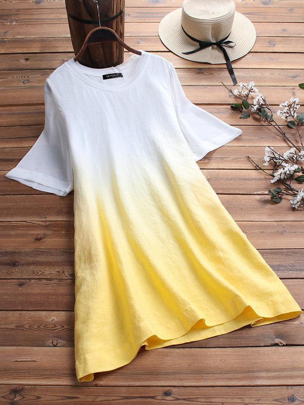 Gradient Short Sleeve Loose O-neck Casual T-shirt For Women