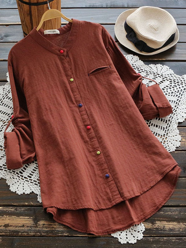 Colorful Buttoned Long Sleeve Blouse