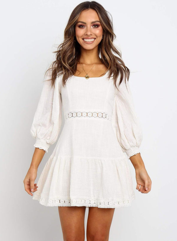 3/4 Sleeve Back Lace Up Babydoll Mini Dress