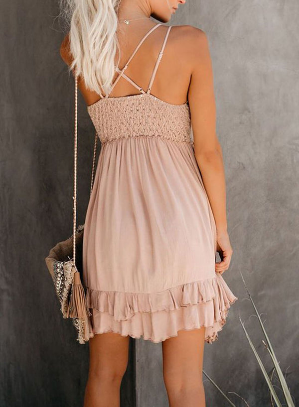 Crochet Plunge V Neck Lace Dress