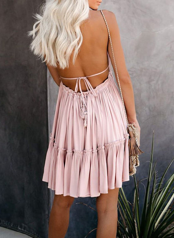 Open Back Babydoll Mini Dress
