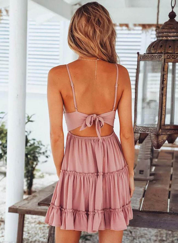 Back Tie Babydoll Mini Dress