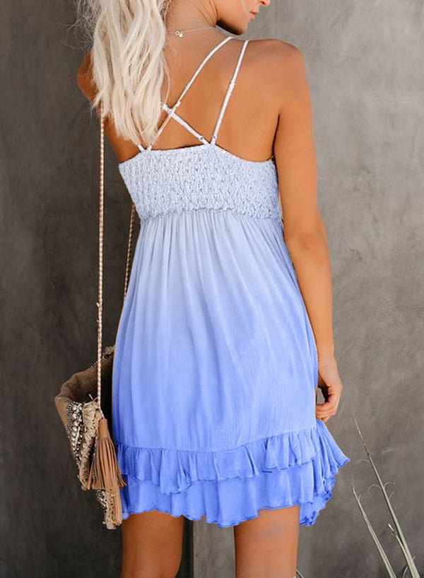 Crochet V Neck Tie-dye Lace Mini Dress