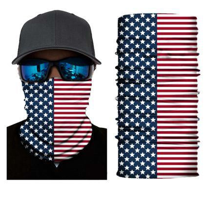 FACE MASK AND NECK WARMER WITH DUST AND SUN UV PROTECTION (US FLAG S215)