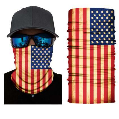 FACE MASK AND NECK WARMER WITH DUST AND SUN UV PROTECTION (US FLAG S217)