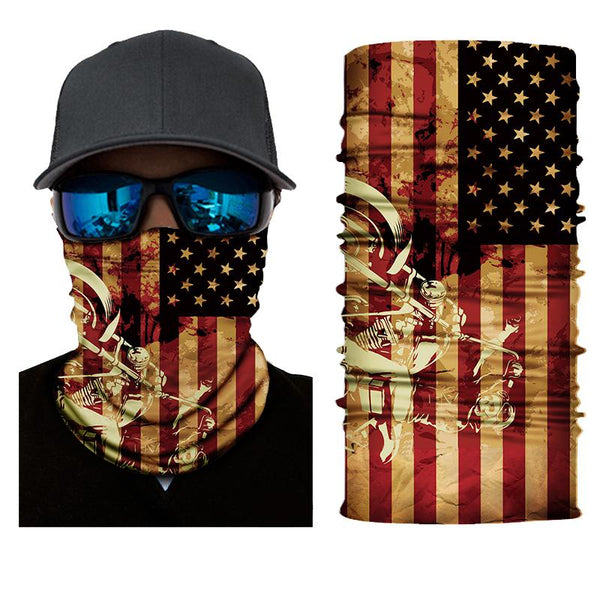 FACE MASK AND NECK WARMER WITH DUST AND SUN UV PROTECTION (US FLAG S3)