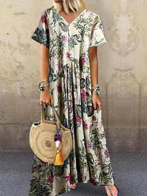 Bohemian Floral Print Button Maxi Dress