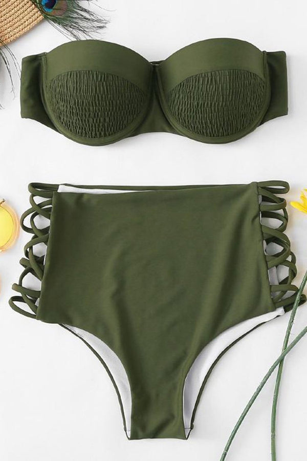 Sexy Push Up Bandeau Bikini Set Ruched Bikini