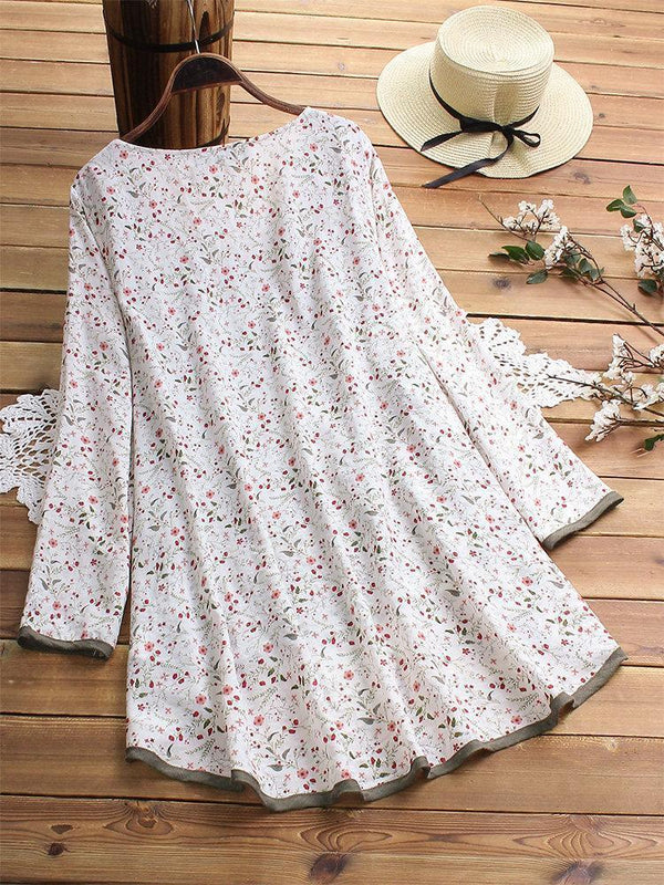Floral Print Patchwork Long Sleeve Blouse For Women