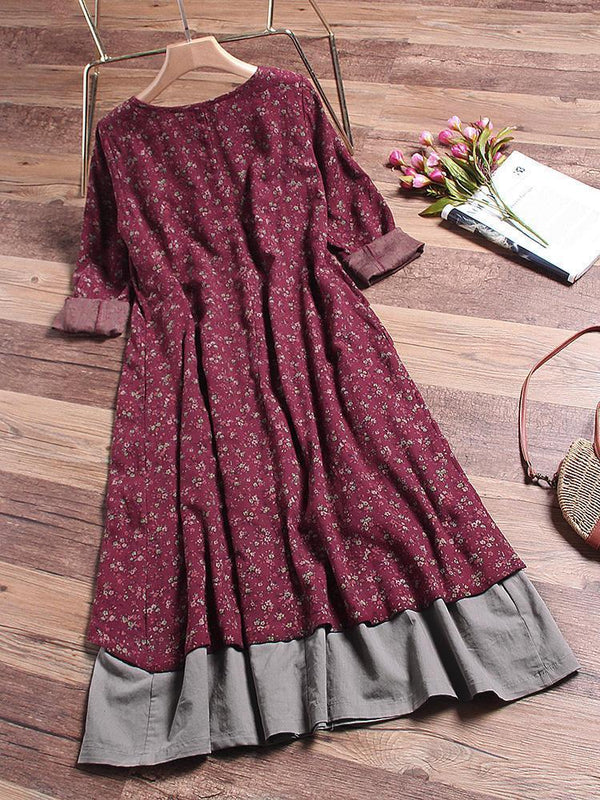 Printed Layered Long Sleeve Vintage Dress
