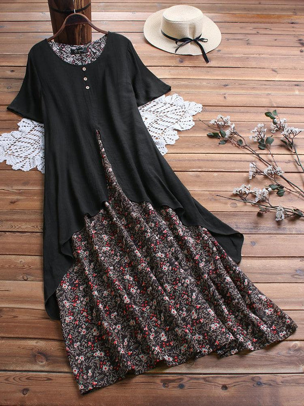 Summer Floral Print Layer Vintage Plus Size Maxi Dress