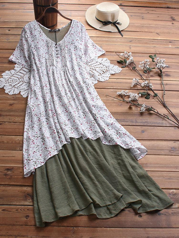 Summer Floral Pleated Patchwork V-neck Pockets Plus Size Vintage Dress