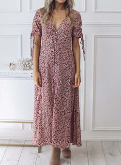 Short Sleeves V-neck Floral Maxi Dress