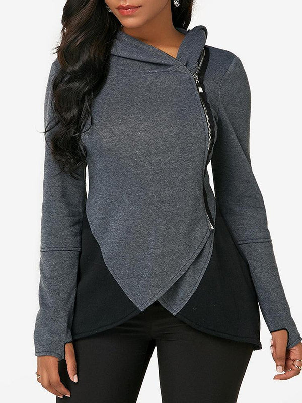 Patchwork Irregular Zipper Long Sleeve Hoodie