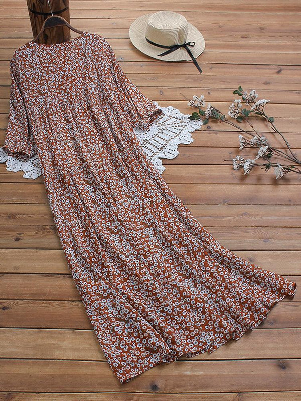 Vintage Print Floral Half Sleeve Crew Neck Maxi Dress