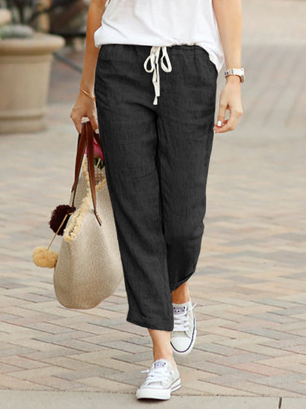 Summer Capri Pants Pockets Drawstring Casual Pants