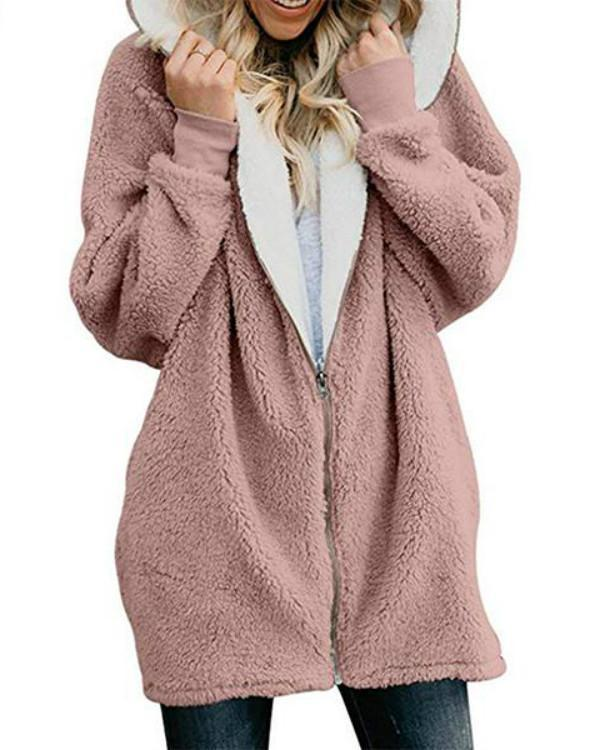 Dreamfitting Zipper Cashmere Solid Long Sleeve Hoodie Coats