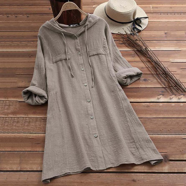 Women Hoodie Vintage Long Sleeve Solid Dresses