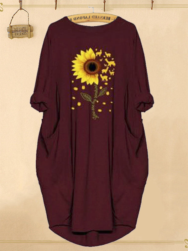 Sunflower Print Pockets Long Sleeve Autumn Casual Dress