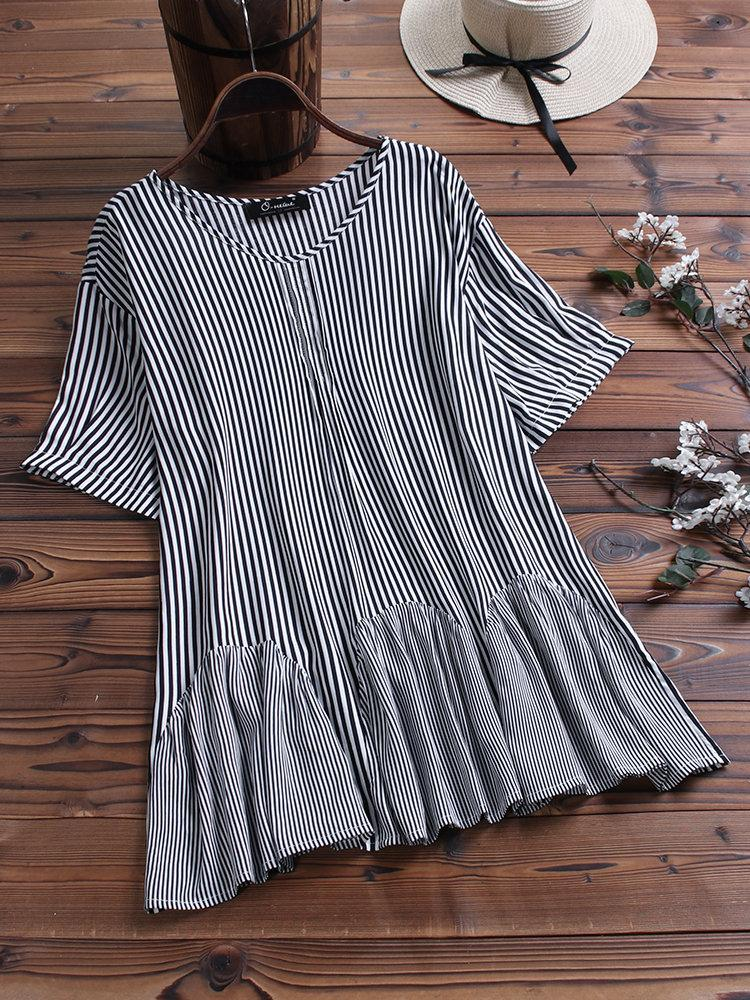 Casual Striped Ruffle Patchwork Bat Sleeve Plus Size Blouse