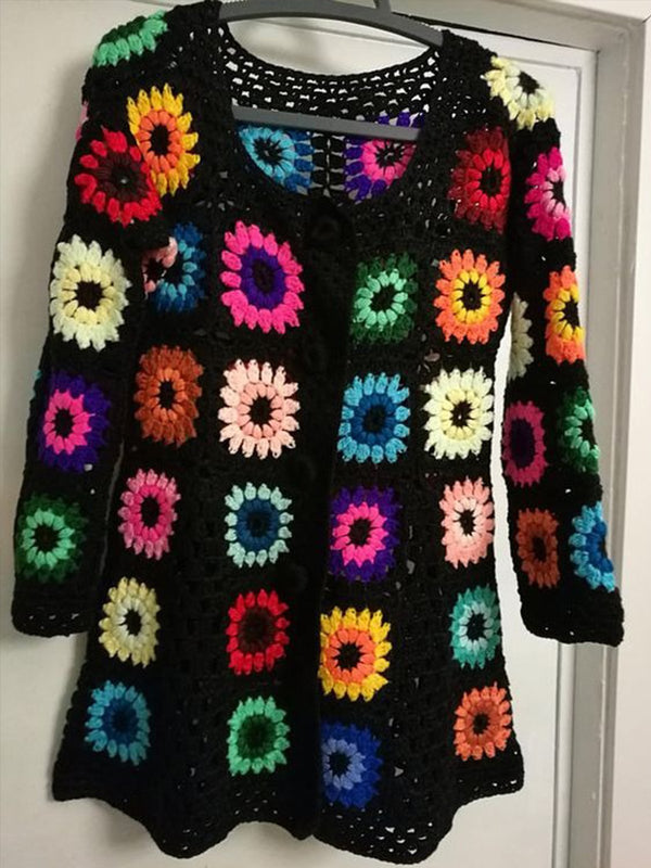 Black Floral Knitted Crew Neck Vintage Sweater