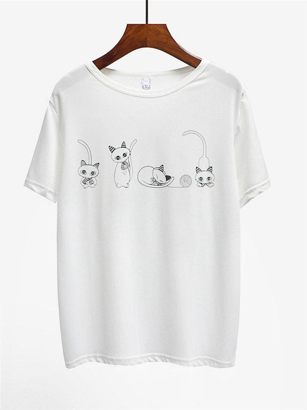 Cotton Cat Printed Short Sleeve O-neck T-shirts