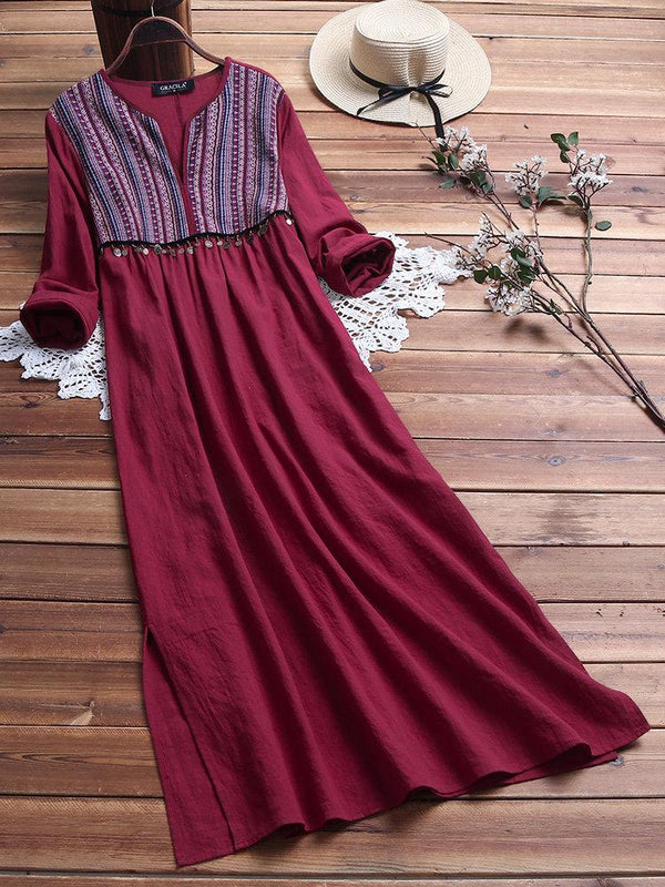 Vintage Ethnic Print V Neck Cotton Maxi Dress