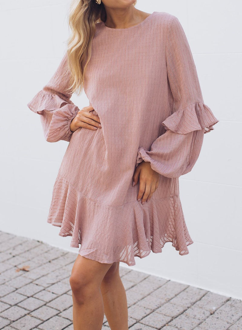 Loop Button At Back Frill Dress