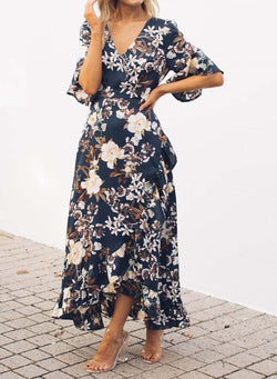 Short Sleeve Floral Print Maxi Dress