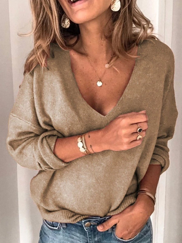 Solid Long Sleeve V Neck Sweaters For Lady