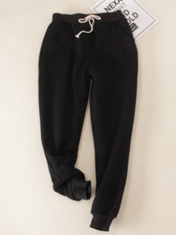 Black Solid Fleeced Cotton Pants