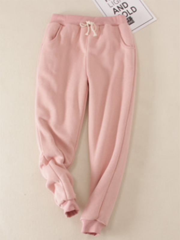 Pink Solid Fleeced Cotton Pants