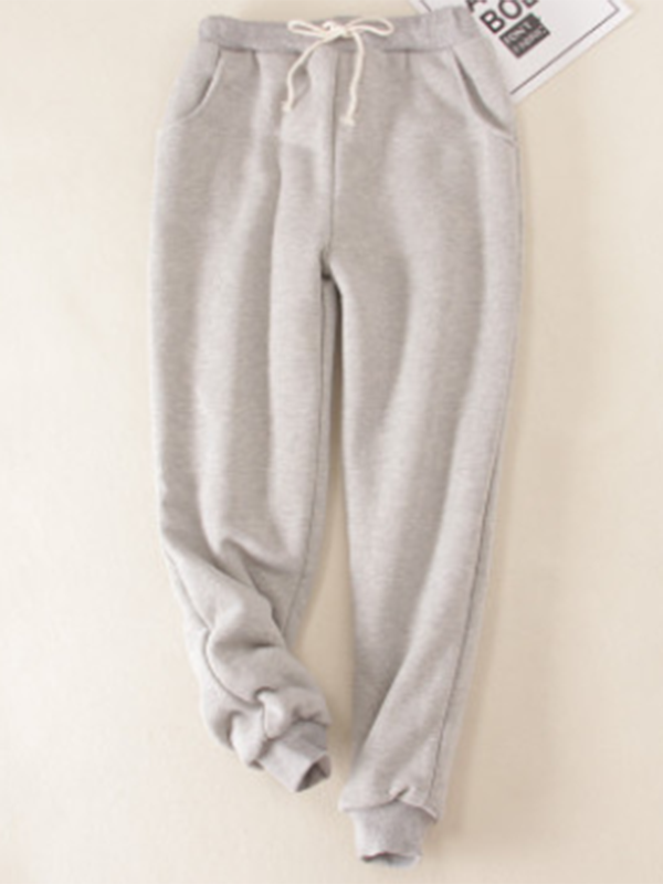 Light Gray Solid Fleeced Cotton Pants