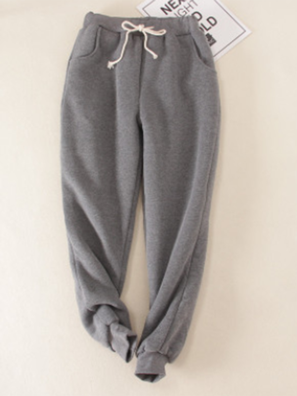 Deep gray Solid Fleeced Cotton Pants