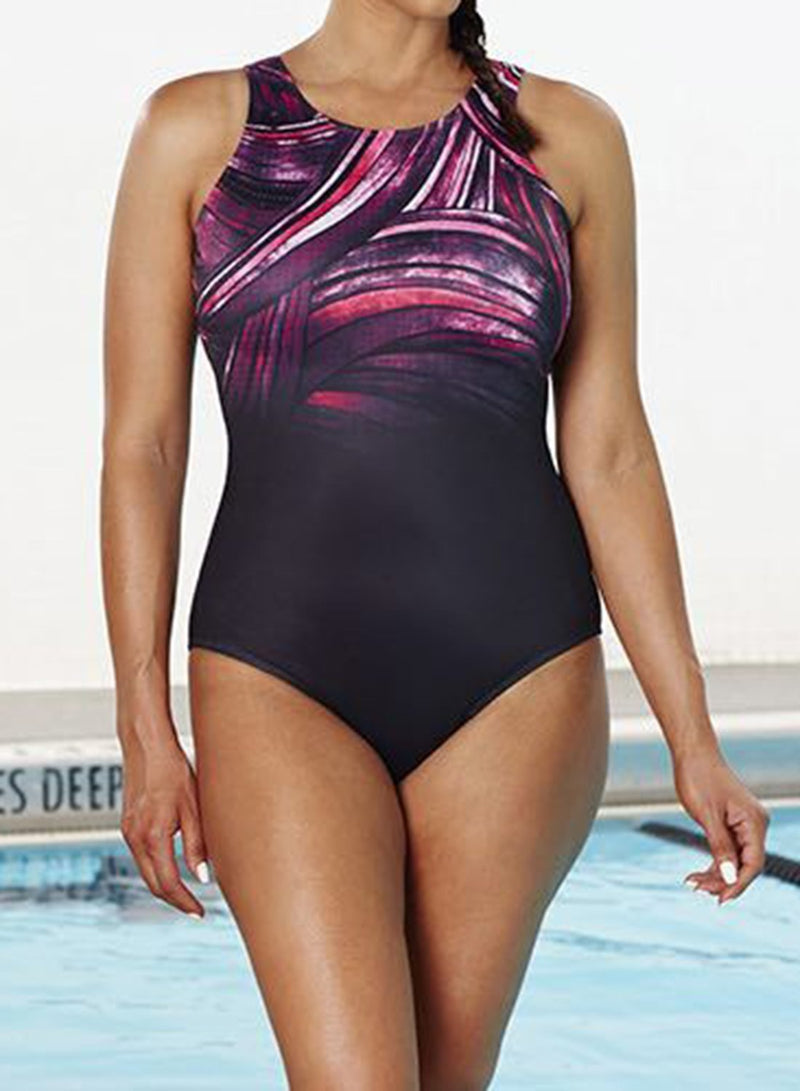 CHLORINE RESISTANT PLUM HIGH NECK ONE PIECE SWIMSUIT
