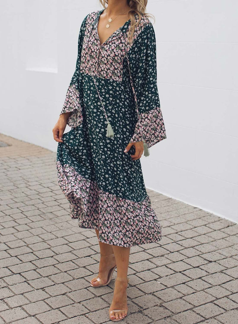 Floral Print Stitched Straight Fit Dress