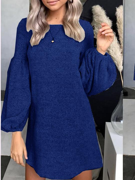 Venuslike.com Mini Dress Blue / S Knitted Sweater Dress Bottoming Shirt