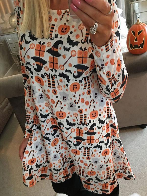 Venuslike.com Mini Dress Halloween Pumpkin Ghost Dress