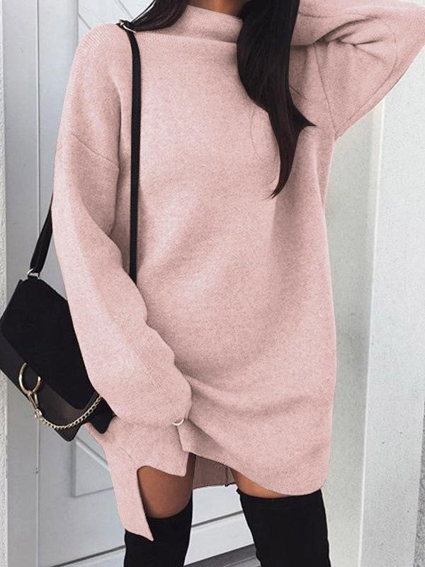 Venuslike.com Mini Dress Pink / S Casual Large Size Loose Knit Turtleneck Split Dress