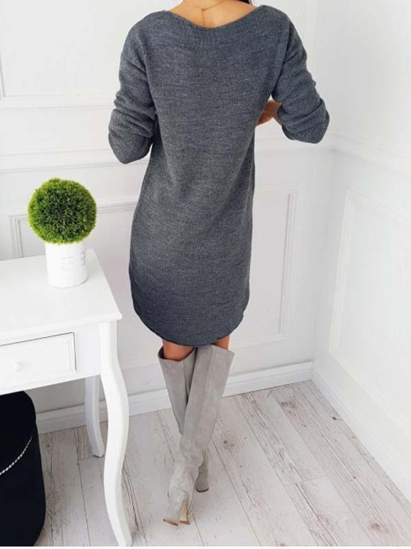 Venuslike.com Mini Dress Solid Color Long Sleeve Sweater Drress